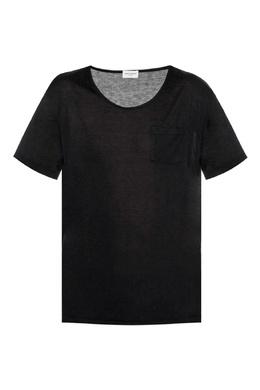 Черная футболка с карманом Saint Laurent 1531157042