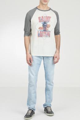 Белая футболка с цветным рисунком Saint Laurent 1531157038