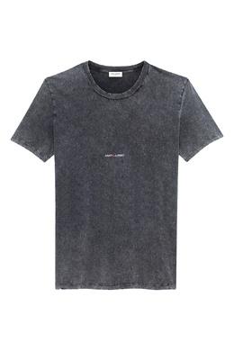Темно-серая футболка с надписью Saint Laurent 1531157036