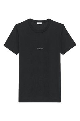 Черная футболка с белой надписью Saint Laurent 1531157031