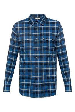 Синяя рубашка в клетку Saint Laurent 1531157060