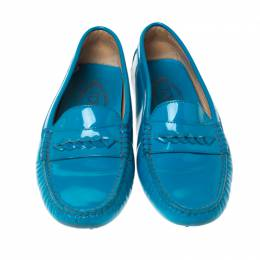 Tod's Blue Patent Leather Gommino Loafers Size 37.5 232787