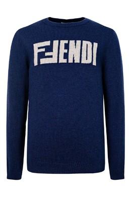 Синий джемпер с надписью Fendi Kids 690157157