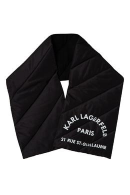 Черный стеганый шарф с логотипом Karl Lagerfeld 682157007
