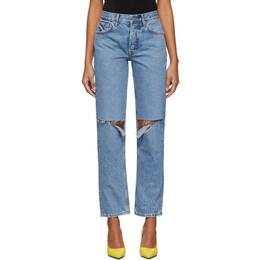 Grlfrnd Blue Helena High-Rise Straight Distressed Jeans 192966F06902302GB