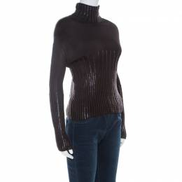 Dior Brown Ribbed Leather Sequin Detail Turtleneck Top L