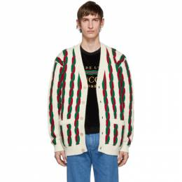 Gucci Off-White and Red Wool Cardigan 585468 XKAK2