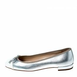 Prada Silver/White Metallic Leather Cap Toe Bow Ballet Flats Size 37