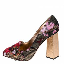 Dolce&Gabbana Multicolor Floral Glitter Fabric Brooch Pumps Size 41