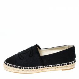 Chanel Black Canvas CC Espadrille Flats Size 36 233363