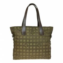 Chanel Khaki Nylon New Travel Line Tote 233655