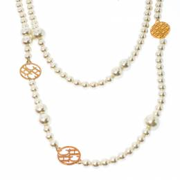 Ch Carolina Herrera A Day For Love Faux Pearl Long Station Necklace 231907