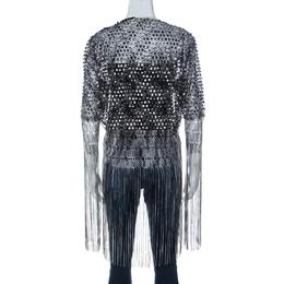 Missoni Monochrome Crochet Knit Lace Trim Fringed Cardigan L 233166