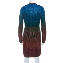 M Missoni Multicolor Ombre Pattern Knit V Neck Dress M 234495