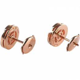 Bvlgari Diamond & 18k Rose Gold Stud Earrings