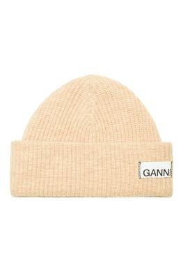 Шерстяная шапка с логотипом Ganni 2979157782