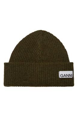 Шерстяная шапка зеленого цвета Ganni 2979157790