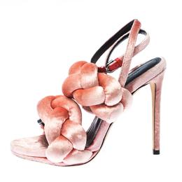 Marco De Vincenzo Pink Velvet Braided Ankle Strap Sandals Size 36 233073