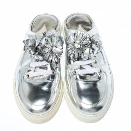 Sophia Webster Metallic Silver Foil Leather Lilico Jessie Sneaker Mules Size 39 233812