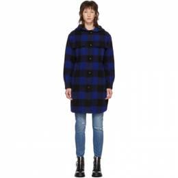 Rag&Bone Black and Blue Check Beck Coat 192055F05900703GB