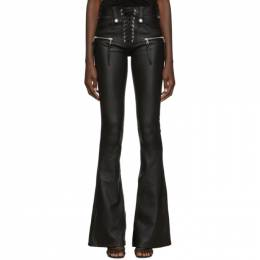 Unravel Black Leather Lace-Up Plonge Trousers 192806F08700501GB