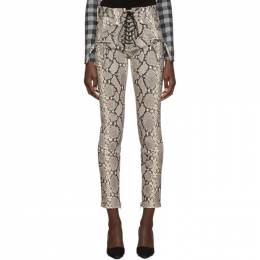 Unravel Grey Python Lace-Up Trousers 192806F08700404GB