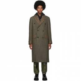 R13 Green Herringbone Double-Breasted Coat 192021M17600503GB