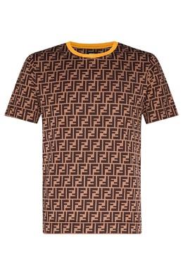 Коричневая футболка с монограммами Fendi 1632158022