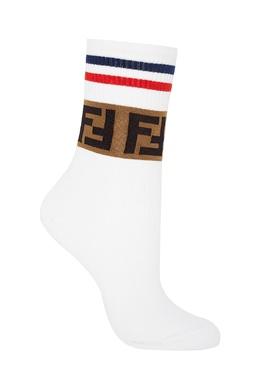Трикотажные спортивные носки из белого хлопка Fendi 1632158552