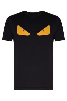 Черная футболка с кожаными вставками Bag Bugs Fendi 1632157981
