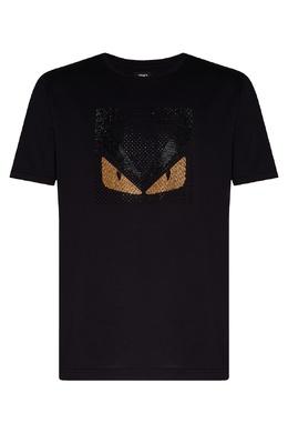 Черная футболка со стразами и мотивом Bag Bugs Fendi 1632157982