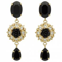Dolce&Gabbana Gold and Black Strass Evening Clip-On Earrings 192003F02201901GB