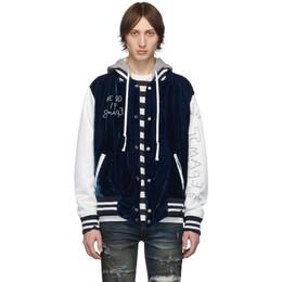 Greg Lauren Blue Velvet Varsity Bomber Jacket 192933M18000104GB