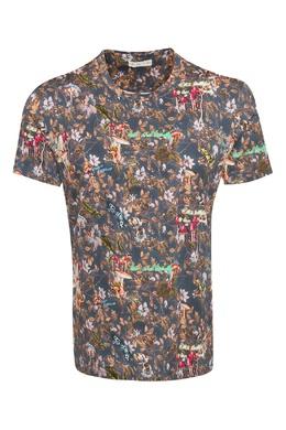 Темно-синяя футболка с узорами и надписями Etro 907158819
