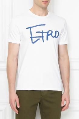 Бордовая футболка с аппликацией Etro 907158621