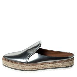 Brunello Cucinelli Metallic Silver Leather Espadrille Mules Size 40 235389