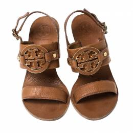 Tory Burch Tan Leather Miller Metal Logo Wedge Sandals Size 36 235141