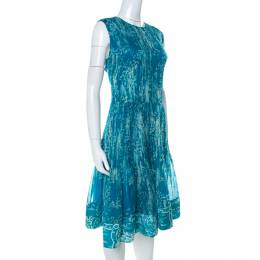 Oscar De La Renta Blue Printed Toile Silk Pleated Sleeveless Dress L 234929