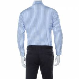 Emporio Armani Blue and White Striped Cotton Button Front Shirt M 233287