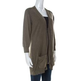 Burberry Brit Green Distressed Effect Knit Zipper Front Cardigan XL 235353