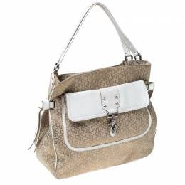 DKNY Beige/White Signature Canvas and Leather Front Pocket Hobo 232189