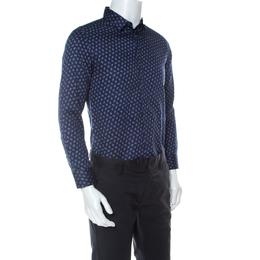 Emporio Armani Navy Blue Cotton Fingerprint Button Front Shirt M 233293