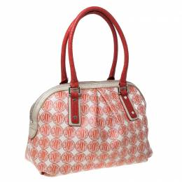 DKNY Red/White Signature PVC and Leather Dome Satchel 232056