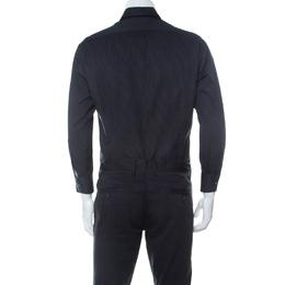 Lanvin Black Striped Cotton Twill Long Sleeve Shirt L 233372