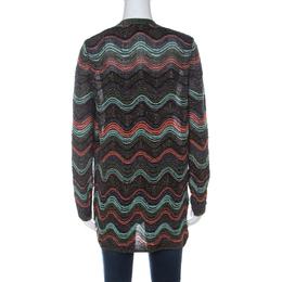Missoni Multicolor Chevron Pattern Metallic Knit Open Front Cardigan S 235339