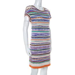 Missoni Multicolor Knit Short Sleeve Mini Dress M 235331