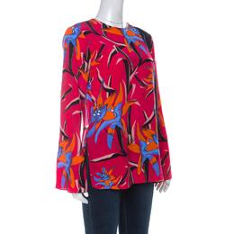 Diane Von Furstenberg Pink Printed Silk Long Sleeve Top S 235324