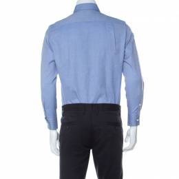 Loro Piana Light Blue Woven Cotton Long Sleeve Button Down Collar Shirt S 233425
