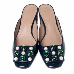 Tory Burch Blue Patent Leather Vail Embellished Block Heel Mules Size 39.5 235792