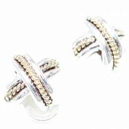 Tiffany & Co. Sterling Silver 18K Yellow Gold Cross Motif Earrings
